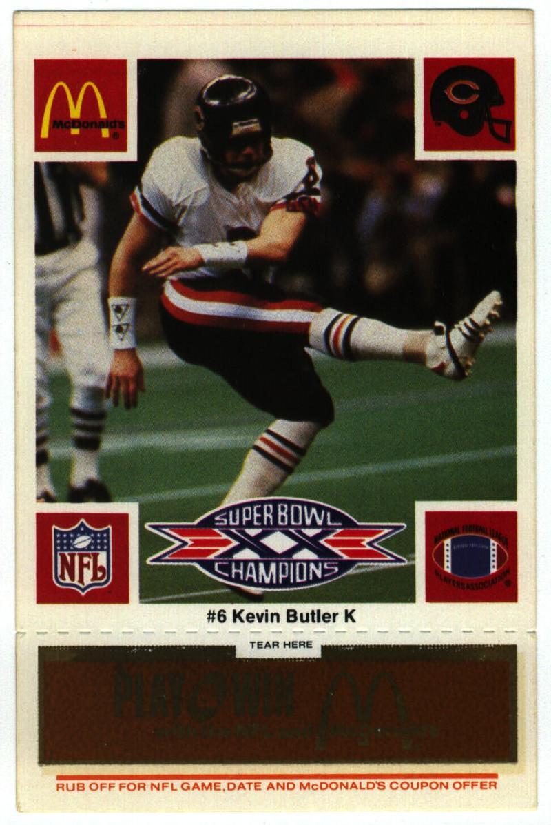 1986 McDonald's Bears  #6 Kevin Butler DP