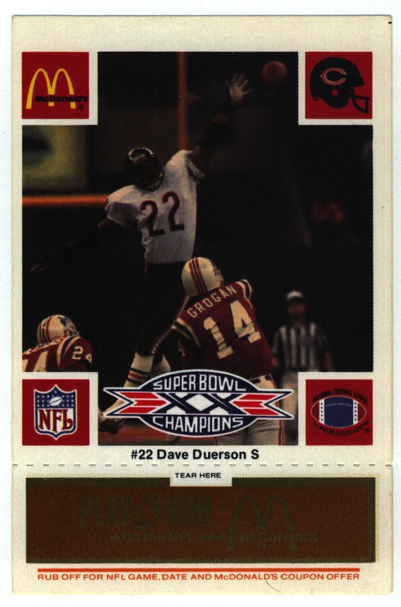 1986 McDonald's Bears  #22 Dave Duerson