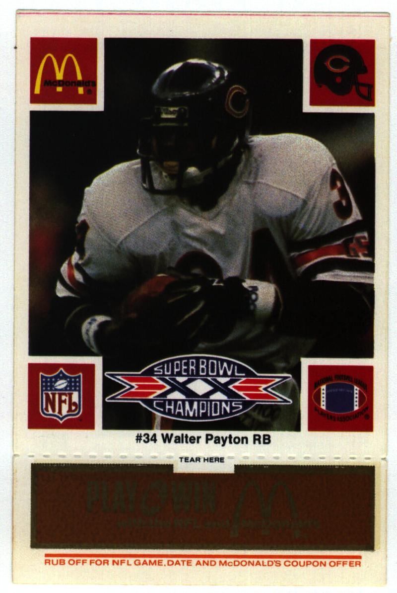 1986 McDonald's Bears  #34 Walter Payton DP