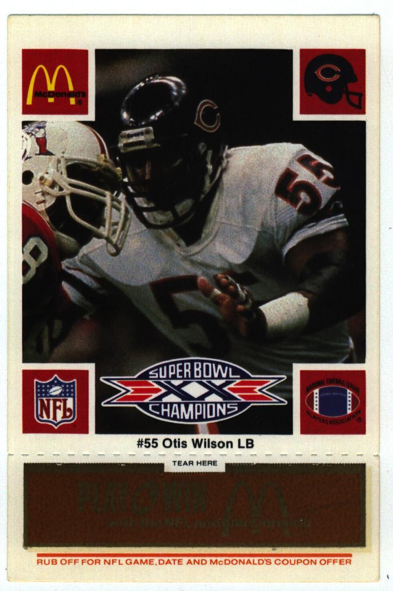 1986 McDonald's Bears  #55 Otis Wilson