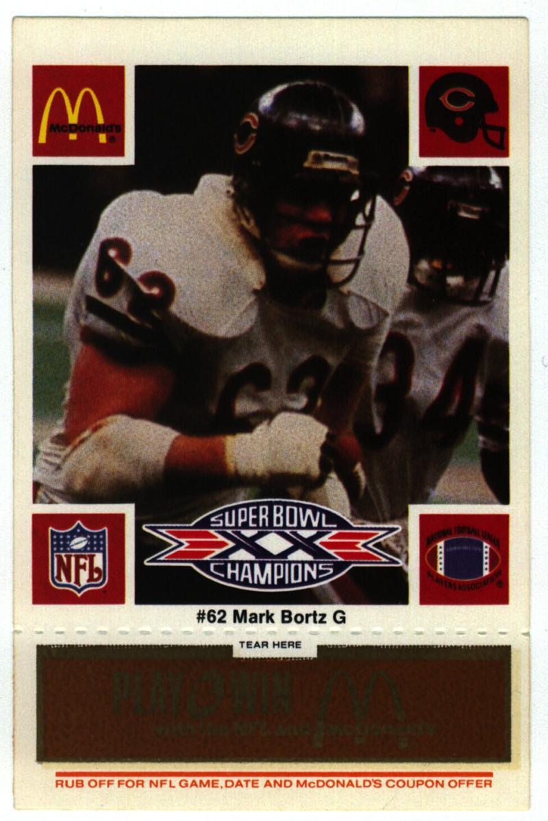 1986 McDonald's Bears  #62 Mark Bortz DP