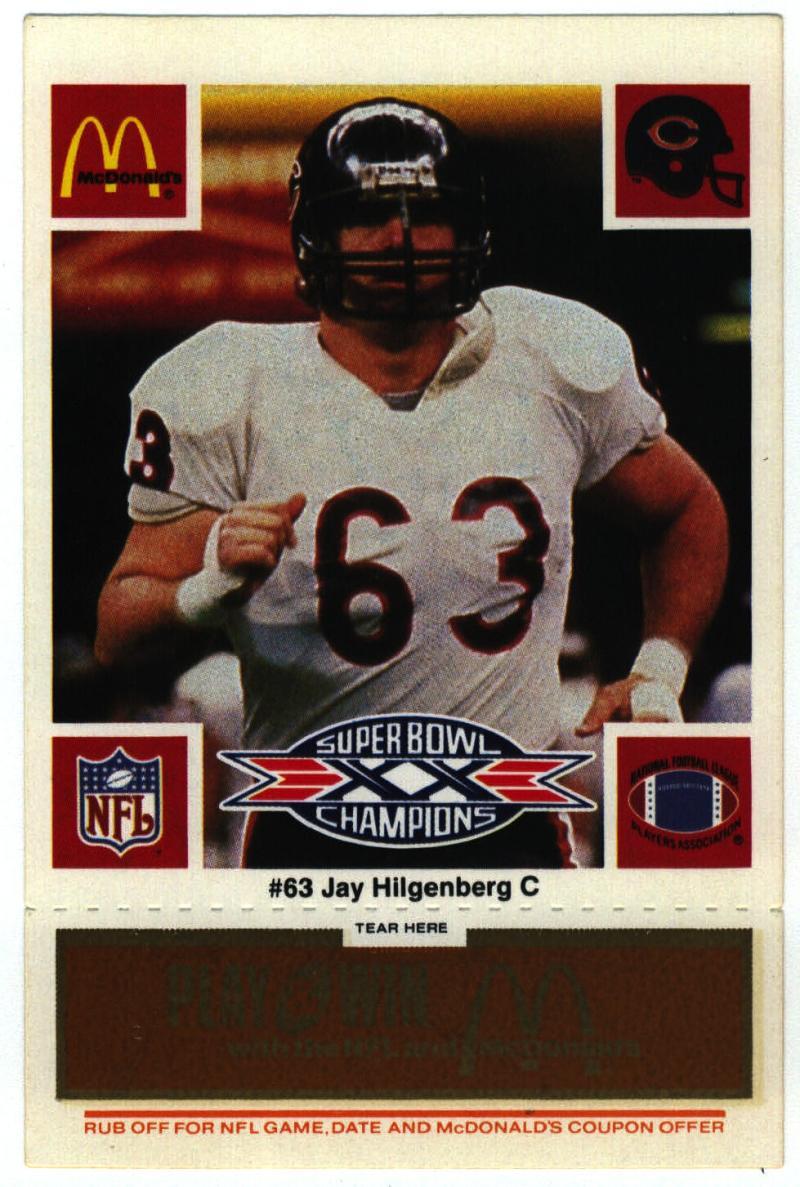 1986 McDonald's Bears  #63 Jay Hilgenberg