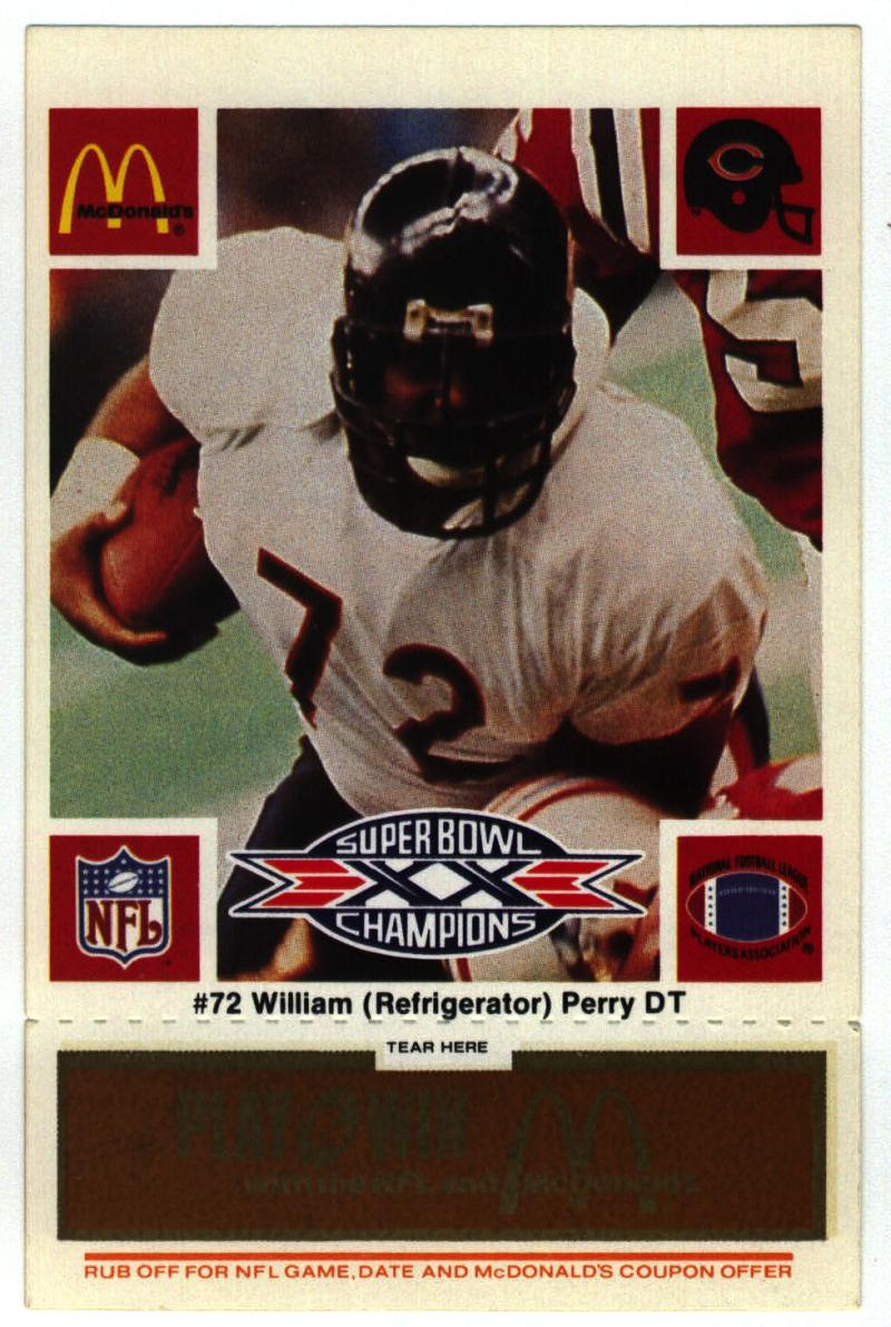 1986 McDonald's Bears  #72 William Perry DP