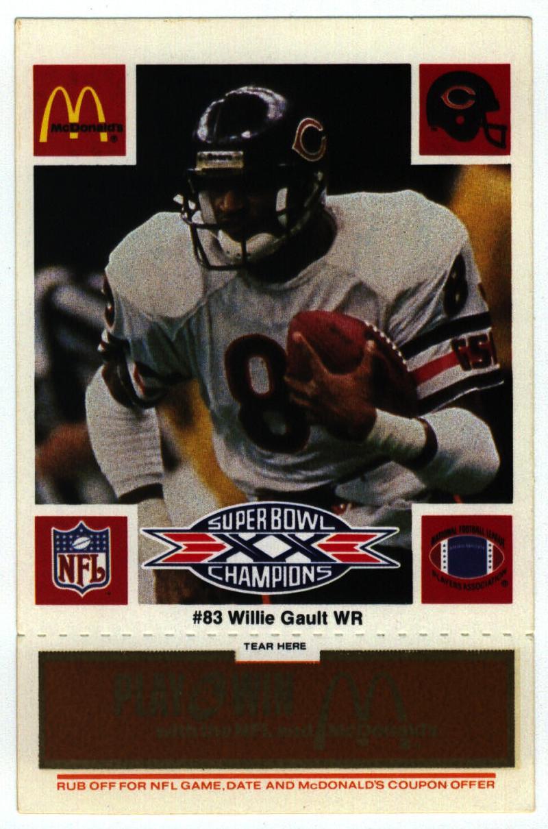 1986 McDonald's Bears  #83 Willie Gault