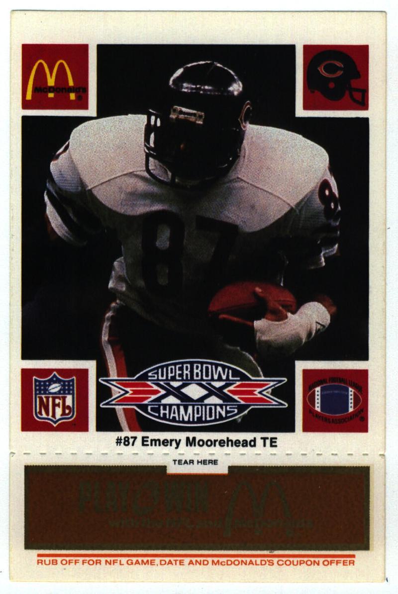 1986 McDonald's Bears  #87 Emery Moorehead