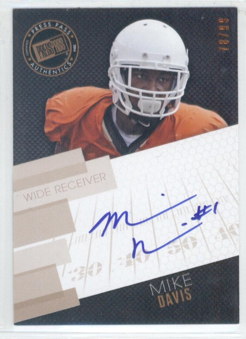 Football NFL 2014 Press Pass Autographs Bronze #MD Mike Davis  Autograph  of 99