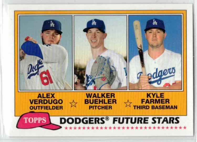 2018 Topps Archives 1981 Topps Future Stars Trios #FS-LAD Kyle Farmer/Alex Verdugo/Walker Buehler